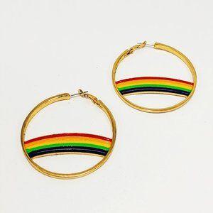 BaubleBar Gold Tone Rainbow Pride Earrings